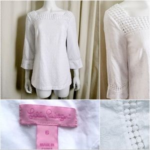 Lilly Pulitzer Knees Bees white jacquard tunic 6